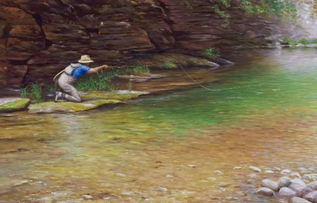 Fine art oil paintings fine art artist adriano manocchia for Fly fishing art